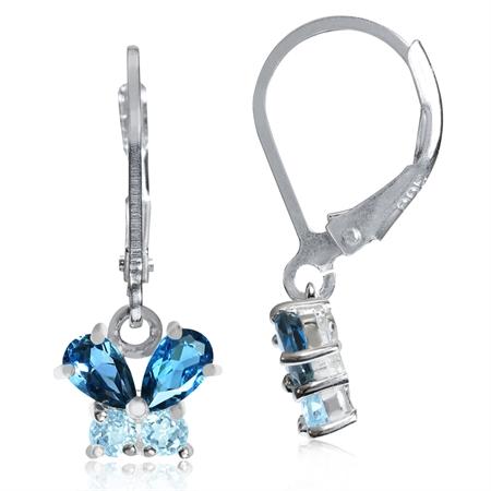 Petite Genuine London Blue Topaz 925 Sterling Silver Butterfly Leverback Dangle Earrings