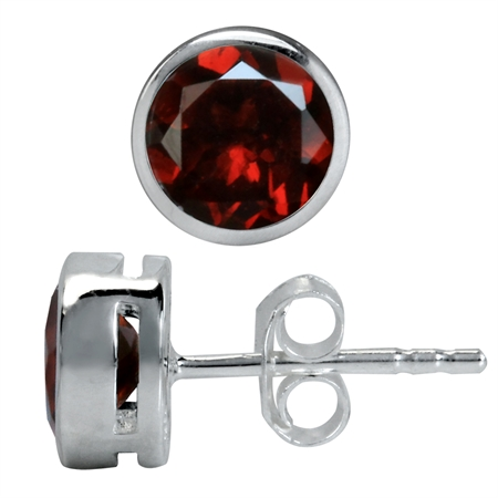1.84ct. 6MM Natural January Birthstone Garnet 925 Sterling Silver Stud Earrings