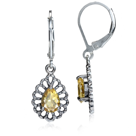 1.06ct. Natural Citrine 925 Sterling Silver Filigree Drop Dangle Leverback Earrings