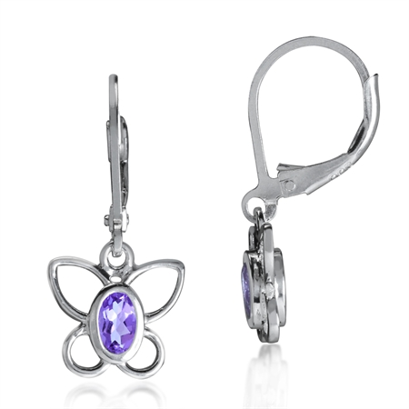 Natural Amethyst 925 Sterling Silver Butterfly Dangle Leverback Earrings