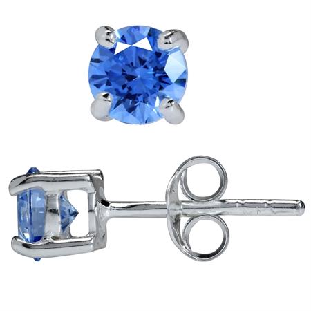 Blue Swarovski Zirconia 925 Sterling Silver Stud Earrings
