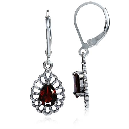 1.74ct. Natural Garnet 925 Sterling Silver Filigree Drop Dangle Leverback Earrings
