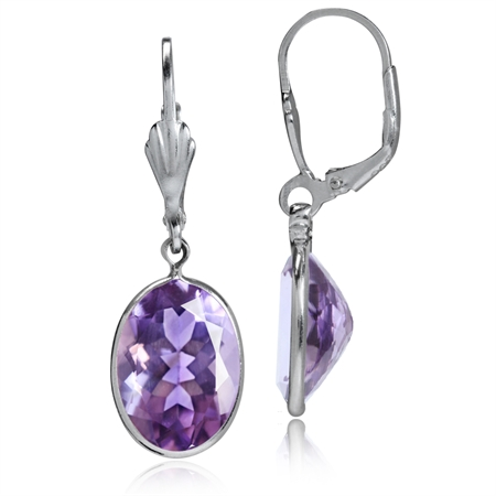 10.28ct. Natural Amethyst 925 Sterling Silver Dangle Leverback Earrings