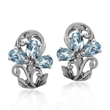 1.8ct. Genuine Blue Topaz 925 Sterling Silver Victorian Style Flower & Leaf Omega Clip Earrings