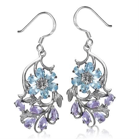 Genuine Blue Topaz & Amethyst 925 Sterling Silver Flower & Leaf Dangle Hook Earrings