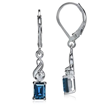 1.46ct. Genuine London Blue & White Topaz 925 Sterling Silver Swirl Leverback Earrings
