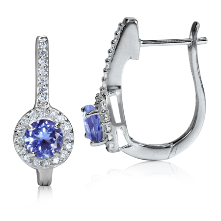 1.08ct. Genuine Tanzanite & White Topaz 925 Sterling Silver Huggie Earrings