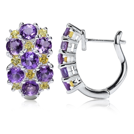 3.08ct. Natural Amethyst & Citrine White Gold Plated 925 Sterling Silver English Hook Earrings