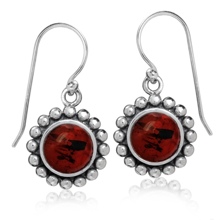 8MM Cherry Amber 925 Sterling Silver Balinese Dangle Hook Earrings