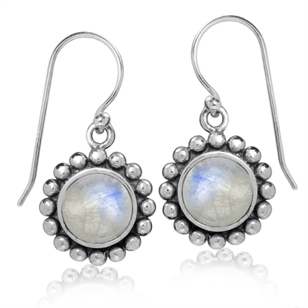 8MM Natural Moonstone Antique Finish 925 Sterling Silver Balinese Style Dangle Hook Earrings