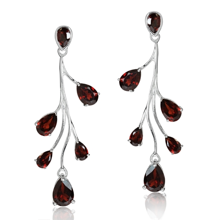 5.54ct. Natural Garnet White Gold Plated 925 Sterling Silver Post Dangle Earrings