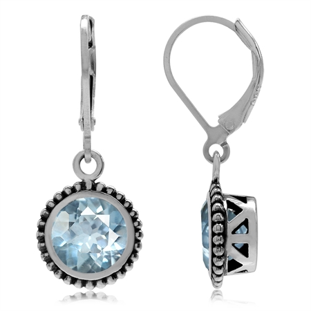 4.9ct. Genuine Round Shape Blue Topaz 925 Sterling Silver Bali/Balinese Style Leverback Earrings
