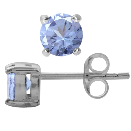1.08ct. Petite Genuine Round Shape Tanzanite 925 Sterling Silver Stud Earrings