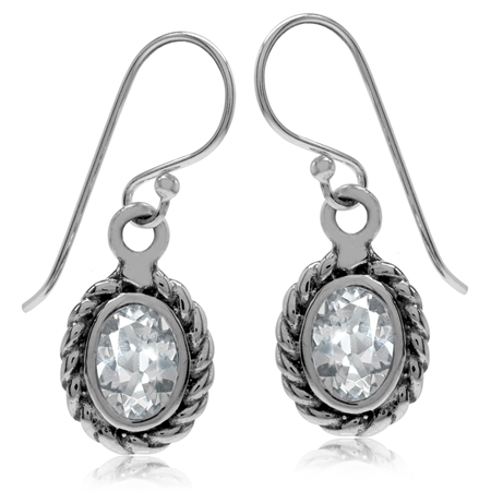 1.84ct. Genuine White Topaz 925 Sterling Silver Rope Dangle Hook Earrings