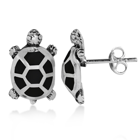 Created Black Onyx Inlay 925 Sterling Silver TURTLE Post Earrings