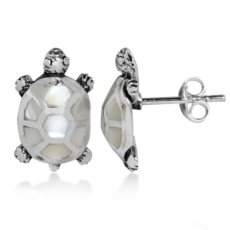 White Mother of Pearl Inlay 925 Sterling Silver TURTLE Post Earrings