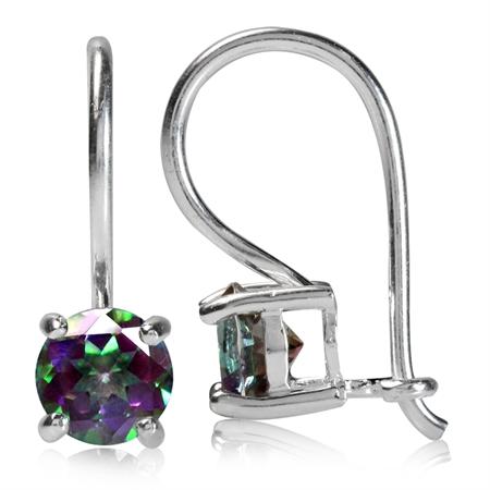 5MM Round Shape Mystic Fire Topaz 925 Sterling Silver Hook Earrings