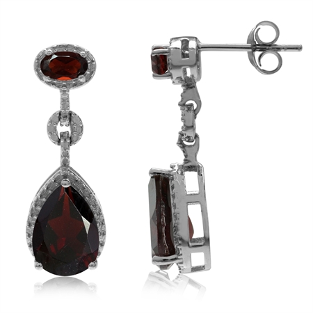 4.54ct. Natural Garnet White Gold Plated 925 Sterling Silver Drop Dangle Post Earrings