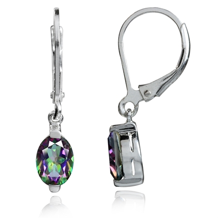 1.78ct. 7x5MM Petite Mystic Fire Topaz White Gold Plated 925 Sterling Silver Leverback Earrings