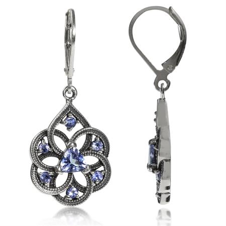 Genuine Tanzanite 925 Sterling Silver Filigree Dangle Drop Leverback Earrings