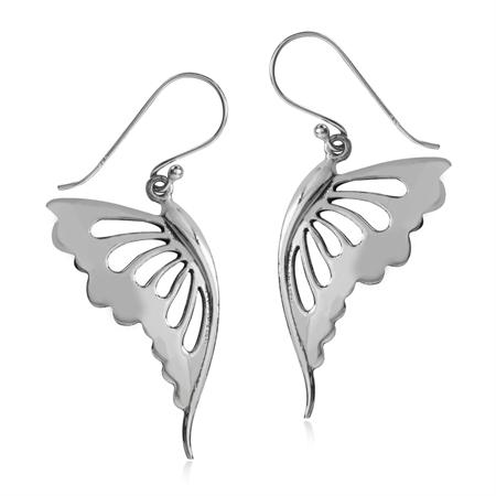 925 Sterling Silver BUTTERFLY WING Dangle Earrings