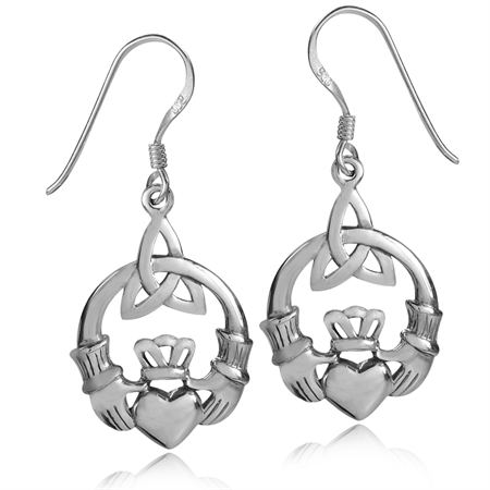 925 Sterling Silver Triquetra Celtic Knot Claddagh Dangle Hook Earrings