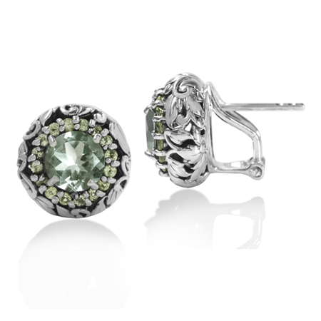 2.52ct. Natural Green Amethyst & Peridot 925 Sterling Silver Leaf Vintage Style Omega Clip Earrings