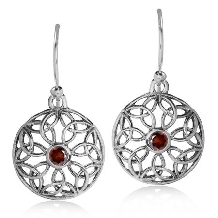 Natural Garnet 925 Sterling Silver Triquetra Celtic Knot Circle Dangle Hook Earrings