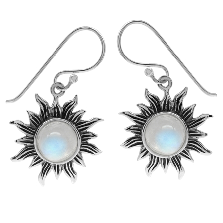 Natural Moonstone 925 Sterling Silver Sun Ray Inspired Dangle Hook Earrings