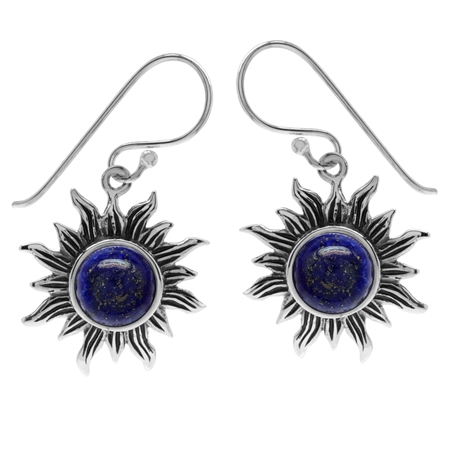 Genuine Lapis 925 Sterling Silver Sun Ray Inspired Dangle Hook Earrings