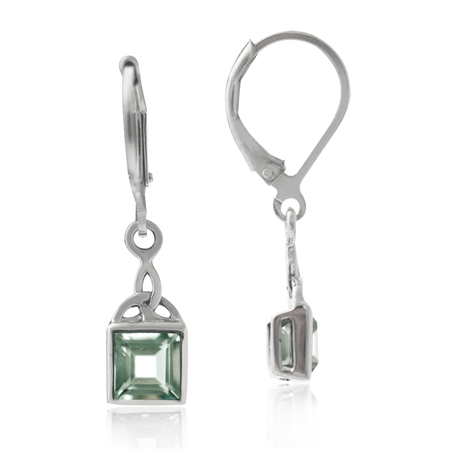 1.26ct. Natural Green Amethyst 925 Sterling Silver Triquetra Celtic Knot Leverback Earrings