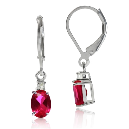 Petite Simulated Ruby & White CZ 925 Sterling Silver Leverback Earrings