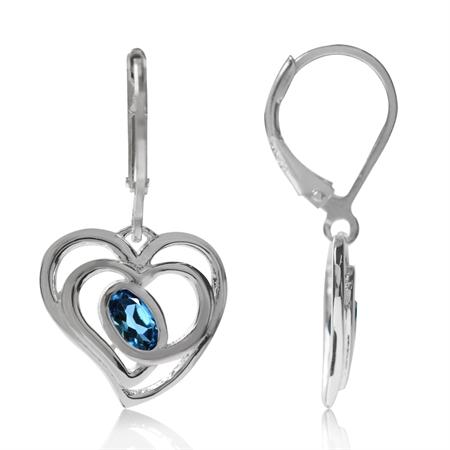 Genuine London Blue Topaz 925 Sterling Silver Heart Leverback Earrings