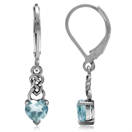 1.22ct. Petite Genuine Heart Shape Blue Topaz 925 Sterling Silver Celtic Knot Leverback Earrings