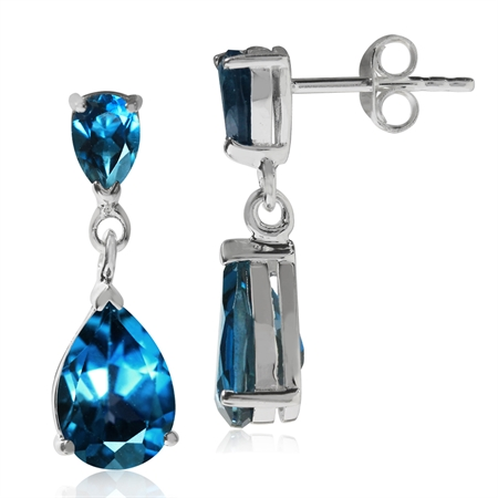 5.7ct. Genuine Pear Shape London Blue Topaz 925 Sterling Silver Drop Dangle Earrings