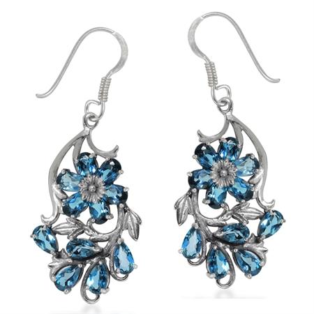 Genuine London Blue Topaz 925 Sterling Silver Flower & Leaf Dangle Hook Earrings