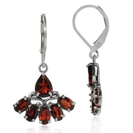 4.58ct. Natural Garnet 925 Sterling Silver Fan Shape Leverback Dangle Earrings