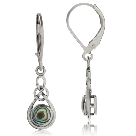 Abalone/Paua Shell 925 Sterling Silver Celtic Knot Leverback Dangle Earrings