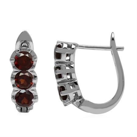 2.1ct. 3-Stone Natural Garnet 925 Sterling Silver English Huggie/Hoop Earrings