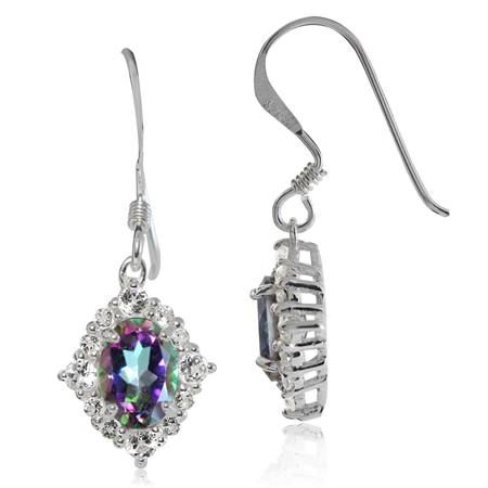 1.76ct. Mystic & White Topaz 925 Sterling Silver Dangle Hook Earrings