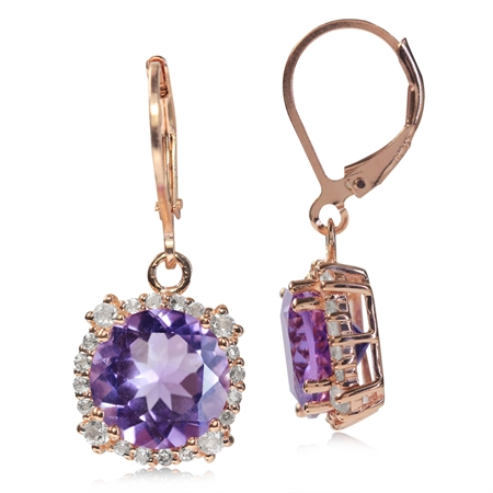 6.12ct. 10MM Round Natural Amethyst & Topaz Rose Gold Plated 925 Sterling Silver Leverback Earrings