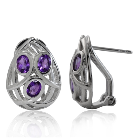 Natural African Amethyst White Gold Plated 925 Sterling Silver Omega Clip Earrings