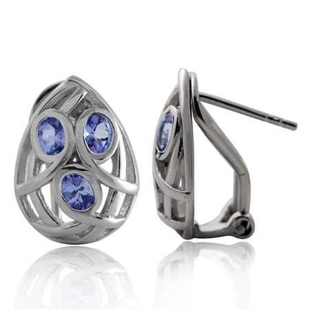Genuine Tanzanite White Gold Plated 925 Sterling Silver Omega Clip Post Earrings