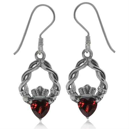 1.06ct. Natural Heart Shape Garnet 925 Sterling Silver Claddagh Dangle Earrings