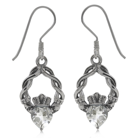 1ct. Genuine Heart Shape White Topaz 925 Sterling Silver Claddagh Dangle Earrings