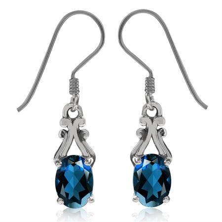 1.9ct. Genuine London Blue Topaz 925 Sterling Silver Victorian Style Dangle Earrings