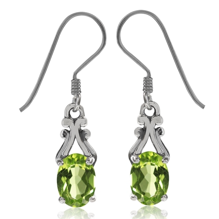 1.78ct. Natural Peridot 925 Sterling Silver Victorian Style Dangle Hook Earrings