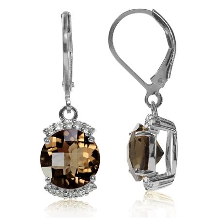 4.5ct. Natural Smoky Quartz & White Topaz 925 Sterling Silver Leverback Dangle Earrings