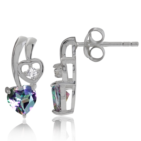 1.08ct. Heart Shape Mystic & White Topaz 925 Sterling Silver Post Earrings