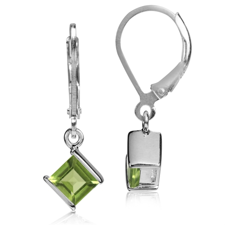 1.32ct. 5MM Natural Square Shape Peridot 925 Sterling Silver Leverback Dangle Earrings